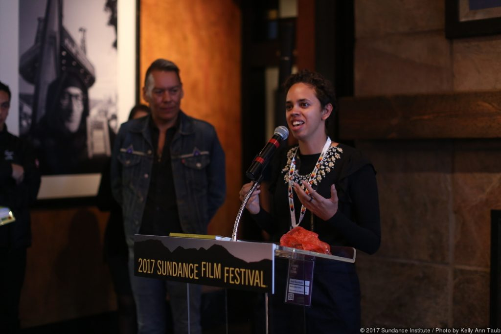 Amie Batalibasi at the Native Forum Brunch at Sundance Film Festival, 2017. Merata Mita Fellowship. Image: Kelly Ann Tuab