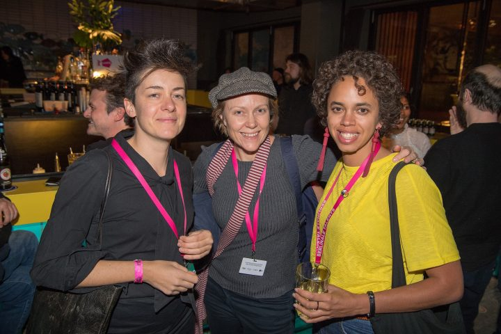 Berlinale Talents party with composer Camilla Uboldi (ITALY/ MEXICO), writer/director Bec Peniston-Bird (AUS). Image © Peter Himsel, Berlinale 2018 via Berlinale Talents Facebook.