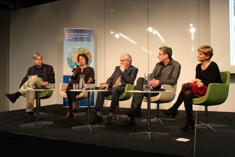 Climate Change and Filmmaking event Berlinale Prof Peter Lemke, Amie Batalibasi, Prof Peter Henning, Dr Renate Treffeison, Prof Rolf Teigler.